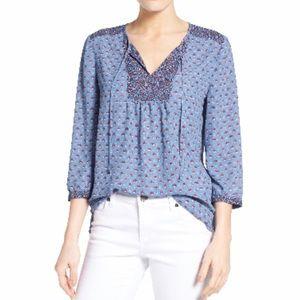 3/4 sleeve split neck blouse
